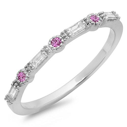14K White Gold Round Cut Pink Genuine Sapphire & Baguette Cut White Diamond Anniversary Wedding (Pink Sapphire Baguette)