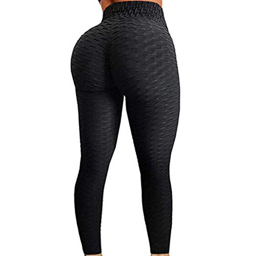 FITTOO Womens High Waist Textured Workout Leggings Booty Scrunch Yoga Pants Slimming Ruched Tights Black L (Best Exercises For A Tight Bum)