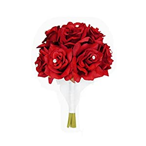 "Angel Isabella 8"" Wedding Bridal Rose Bouquet(XLBQ002-RD) - One Dozen Roses with Rhinestone - Artificial Flower Bridesmaid Toss (RED) 86"