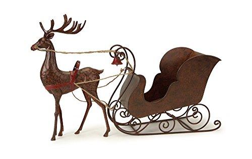 Metal Sleigh with Reindeer