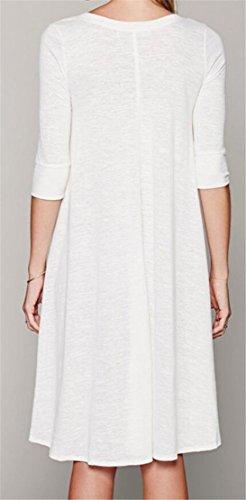 Moda Vestiti Di Mezzo Solido Midi Colore Manicotto Donne Jaycargogo Girocollo Tasto Bianco Del Del q8Upw4