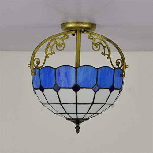 Tiffany-Deckenleuchte 30CM europäische moderne Aisle Korridor Deckenleuchte Badezimmer Verglaste Mediterranean Blue Stained Glass Restaurant Halbdeckenleuchte