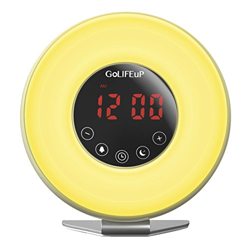 - Alarm Clock Radio Digital Sunrise and Sunset simulation Wake Up Light for kids teens women and men with Touch LED display 6 natural sounds 7 colors with USB charger - perfect electronic GIFT for all