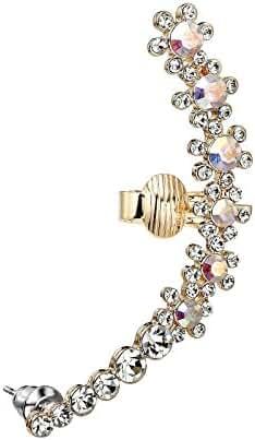 OKAJEWELRY Sweep AB Crystal Flower Clip on Ear Cuff Wrap Pin Earring