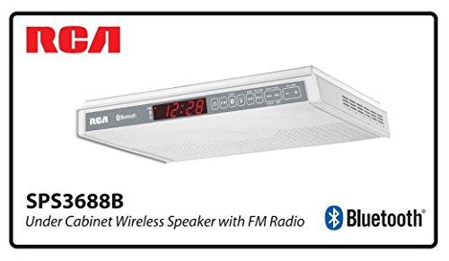 RCA SPS3688B Under Cabinet Wireless Speaker with FM Radio White