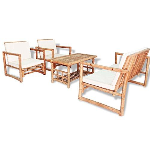 vidaXL Gartenmöbel 12-TLG. Bambus Gartengarnitur Sitzgruppe Gartenbank Stühle