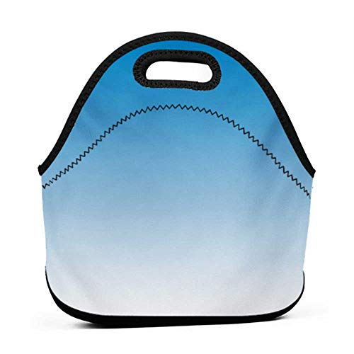 Travel Case Lunchbox with Zip Ombre,Sky Landscape Skyscaper Tall Building View Inspired Blue Lovers Modern Design Print,Blue White,polo lunch bag and backpack for kids