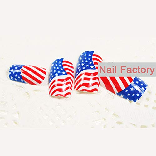 Nail Tips 24 Pcs/set America Flag Design False Fake Nails Acrylic Nail Art with Glue Beauty Fashion The American flag ()