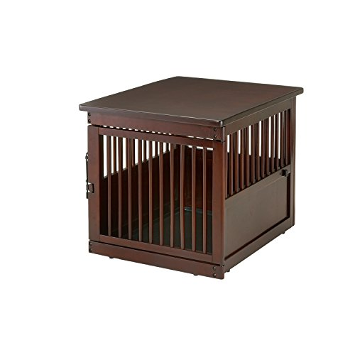 Richell Pet Playpen (Richell Wooden End Table Crate, Medium, Dark Brown)