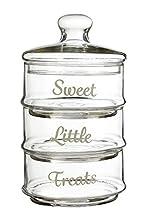Premier Housewares – Botes de Almacenamiento apilable, Vidrio, Transparente, 3 Piezas