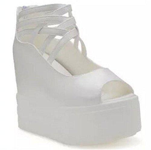 Femmes Gladiateur Talon Caché Plateforme Plate-forme Talons Hauts Peep Toe Sandales Blanc