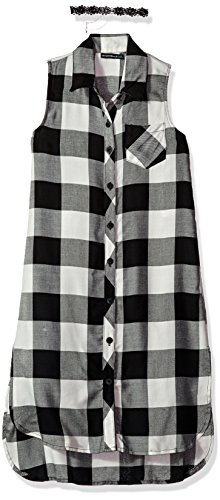 My Michelle Girls' Big High Low Plaid Dress, Black/White, 12 (My Michelle Clothes)