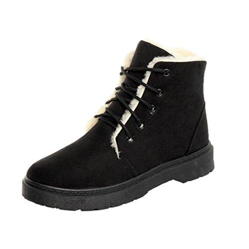 Kaicran Femmes Slip-on Bottes De Neige Dames Hiver Chaud Plus Doublé Plat Lacets Neige Bottes De Cheville Chaussures Noir