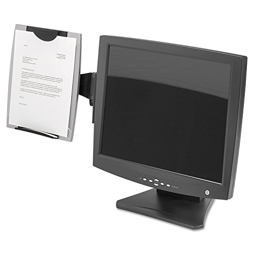 Fellowes Office Suites Monitor Mount - Fellowes 8033301 Office Suites Monitor Mount Copyholder, Plastic, Holds 150 Sheets, Black/Silver