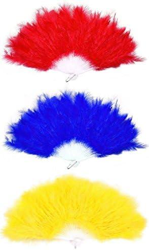 KitMall 3色 セット ふわふわ 羽扇子 ジュリアナ 扇子 ジュリ扇 ゴージャス セクシー コスプレ 仮装 衣装 ディスコ