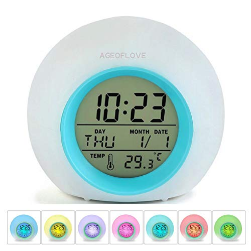 - Kids Alarm Clock, Wake Up Digital Clock for Kids, 6 Natural Sound 7 Colors Changing Light Bedside Clock for Boys Girls Bedroom, with Indoor Temperature Calendar, Touch Control and Snoozing