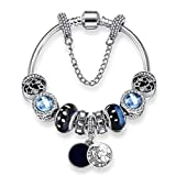 925 Silver Dangle Bracelet Glass Crystal Beads Pandora Elements Wrist Chain Charms Jewelry for Women Love Gift