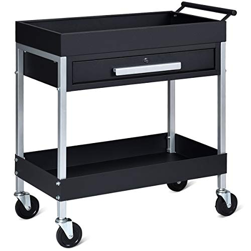 Goplus Rolling Tool Cart Tool Organizers, 2-Tier Service Cart Utility Trolley with Drawer, Iron Mobile Storage Cabinet Organizer Dollies