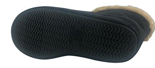 Isotoner Micro Mocka Skogsmark Boot Toffel Inomhus / Utomhus Komfort Bootie Svart