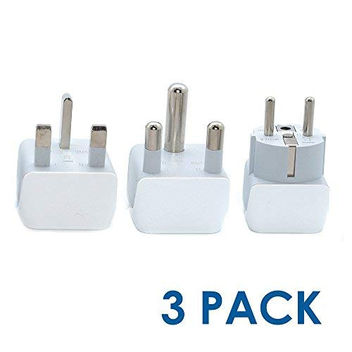 (Ceptics African Travel Adapter Set 2 in 1 USA to Africa, S. Africa, Nigeria, Ghana, Uganda (Type M, E/F, Type G) - 3 Pack (Does Not Convert Voltage) )