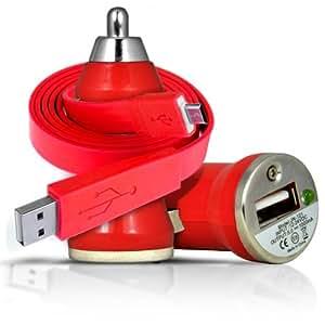 ONX3 Htc desire 500 Rapid Bullet In Car Charger USB con la carga rápida Cable Light & Super 1 Metro plana de transferencia de datos de sincronización (rojo) LED
