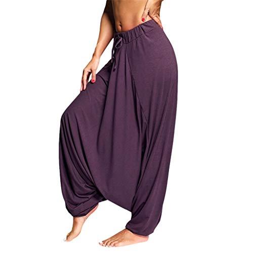 AOJIAN Yoga Harem Pants Buttery Soft Wide Leg Trousers Jogger Capri Workout Running Sports Leggings for Women Purple -