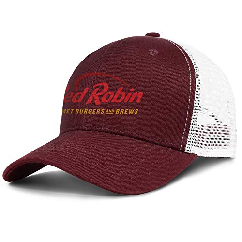 Unisex Men's Red Robin Gourmet Burgers Brews Restaurant Hats Baseball Hat Adjustable Mesh Sports Visor Caps (Best Red Robin Burger)