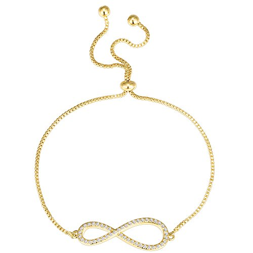 - PAVOI 14K Yellow Gold Plated Infinity Adjustable Bracelet