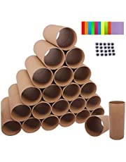 SUITUS 40 Pack 1.6X3.9 Inch Cardboard Tubes Bulk Craft Rolls Tubes, Thick Paper Roll Tubes for DIY Art Craft, Animals, Come with 100 Sheets Colorful Paper and 80 Pack Wiggle Eyes(Brown)