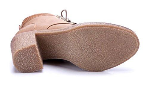Schuhtempel24 Damen Schuhe Klassische Stiefeletten Stiefel Boots Blockabsatz 8 cm Camel