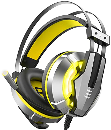 EKSA Stereo Gaming Headset for PS4, PC, Xbox One Controller, Noise Cancelling over Ear Headphones with Mic, LED Light, Bass Surround, Soft Memory Earmuffs for Laptop Mac Nintendo Switch Games (Yellow) [xbox_one,windows]…