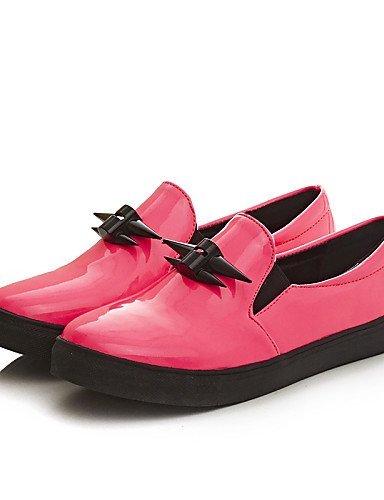 Mocassini pelle ShangYi Rosa Nero Finta Pink gyht Piatto Punta Donna Casual Scarpe arrotondata qqtSOf
