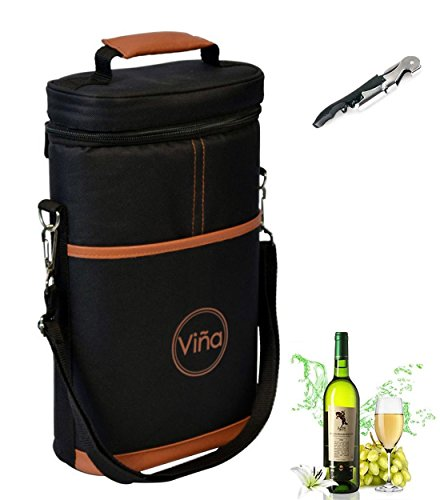 Vina¨ Wine Travel Carrier & Cooler Bag 2-bottle Wine Champagne Carrying Tote Picnic Cooler Insulated Travel Brown