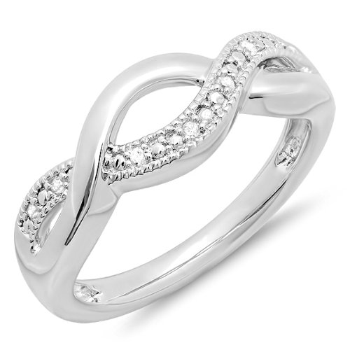 0.05 Carat (ctw) Sterling Silver Round Diamond Ladies Infinity Love Swirl Wedding Anniversary Ring (Size 7.5) by Dazzlingrock Collection