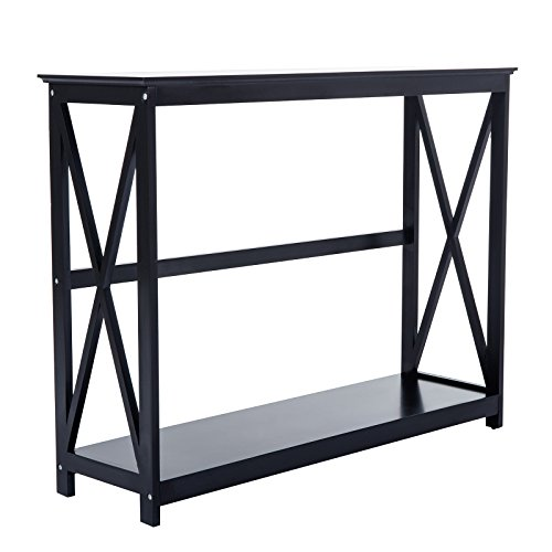 Mecor Accent Console Entry Table With Storage Shelves For Entryway Wood  Living Room Hallway Furniture 2 Tier Black,40L