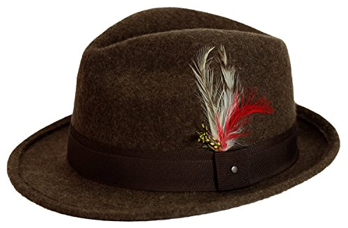 9th Street Men's 100% Wool 'Verve' Trilby Fedora Hat (Large (fits 7 1/4 to 7 3/8), (Brown Fedora Hat)