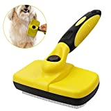 Xboun Pet Grooming Brush, Pet Deshedding Brush for Dogs & Cats, Self Cleaning Slicker Brush Effectively Reduces Shedding foring Loose Undercoat,Tangled Knots & Matted Fur (Yellow)