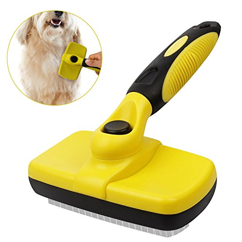 Xboun Pet Grooming Brush, Pet Deshedding Brush for Dogs & Cats, Self Cleaning Slicker Brush Effectively Reduces Shedding foring Loose Undercoat,Tangled Knots & Matted Fur (Yellow) by Xboun