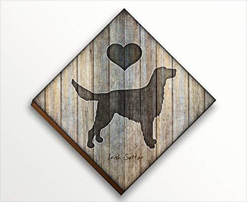 Irish Setter Diamond Shaped Mounted Dog Art Print by Dan Morris