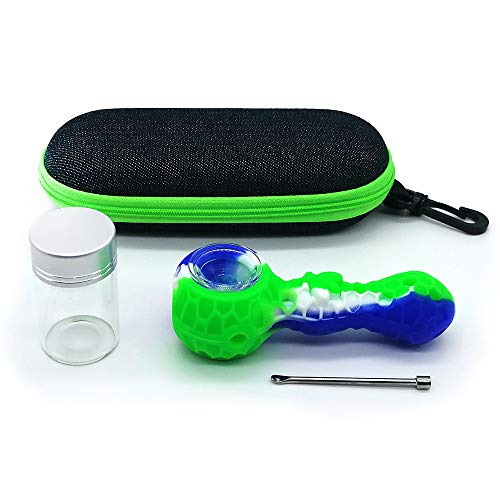 Silicone Honey Nest Straws Travel Kit-with Portable Case and Storage Glass Bottle (Green&Blue)
