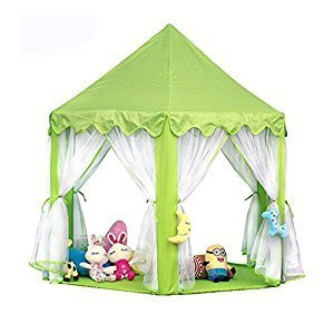 Ejoy e-Joy Kids Indoor/Outdoor Tent Fairy Princess Castle Tent, Portable Fun Perfect Hexagon Large Playhouse Toys for Girls 55x 53(DxH) Green with LED Lights