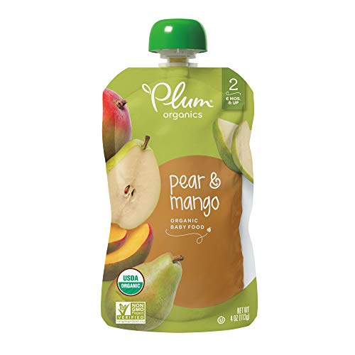 (Plum Organics Stage 2, Organic Baby Food, Pear and Mango, 4 ounce pouches (Pack of 12) (Packaging May Vary))