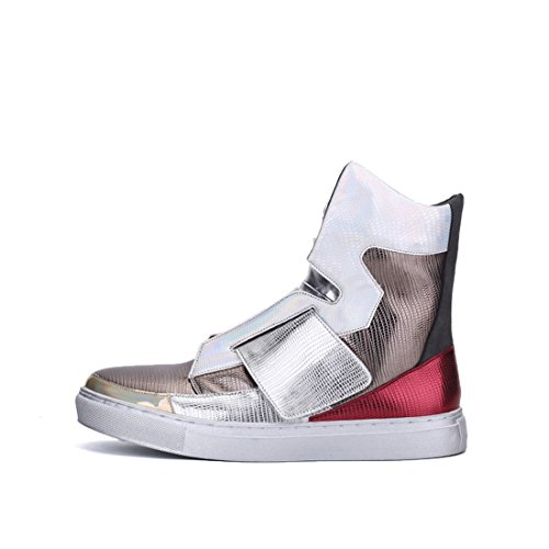 Xiafen Mens Moda High-top Slip-on Appartamenti Comode Scarpe Da Ginnastica Cool Argento