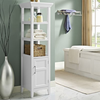 Stylish Linen Tower, Open and Closed Shelving, Manufactured Wood Construction, Ample Storage Space, White Painter Lacquer Finish