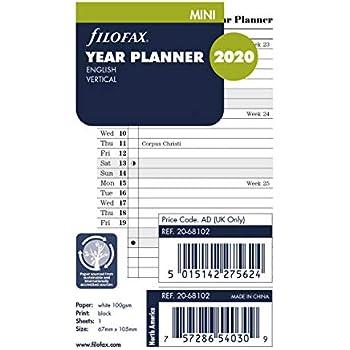 Monthly 4.125 X 2.625 Inches Filofax 2020 Mini Horizontal Planner Refill C68101-20 Jan 2020- Dec 2020