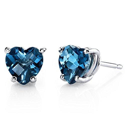 14 Karat White Gold Heart Shape 2.00 Carats London Blue Topaz Stud Earrings -