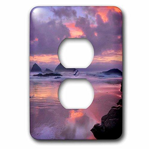 3dRose Danita Delimont - Oregon - Oregon, Oceanside. Sunset on beach and sea stacks. - Light Switch Covers - 2 plug outlet cover - Oceanside Outlets