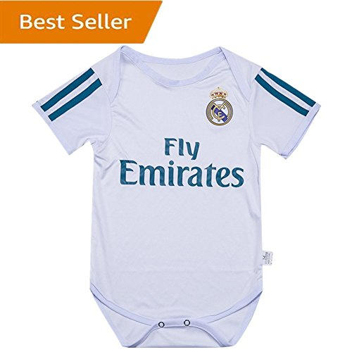 Real Madrid Bodysuits Onesize For 9-18 Months Baby Suit White by soccerbabysuit