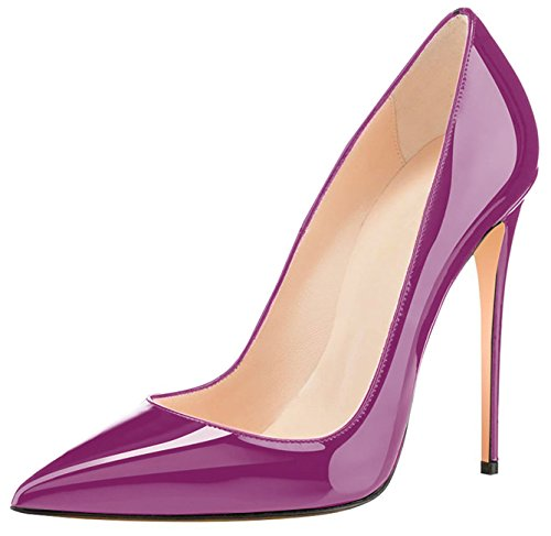 Eldof High Purple Party Wedding Pointed Toe Pumps Stilettos 4 Women's Pumps Dress Patent Classic 72in Heel 12cm aOAaqxr