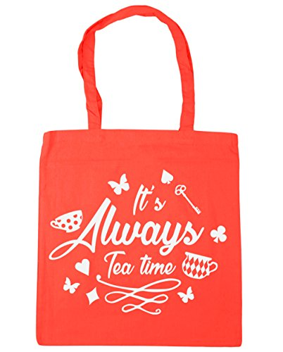 Tea x38cm 10 42cm Coral litres Tote Shopping Gym Always Beach Time It's HippoWarehouse Bag qxwPgvEz